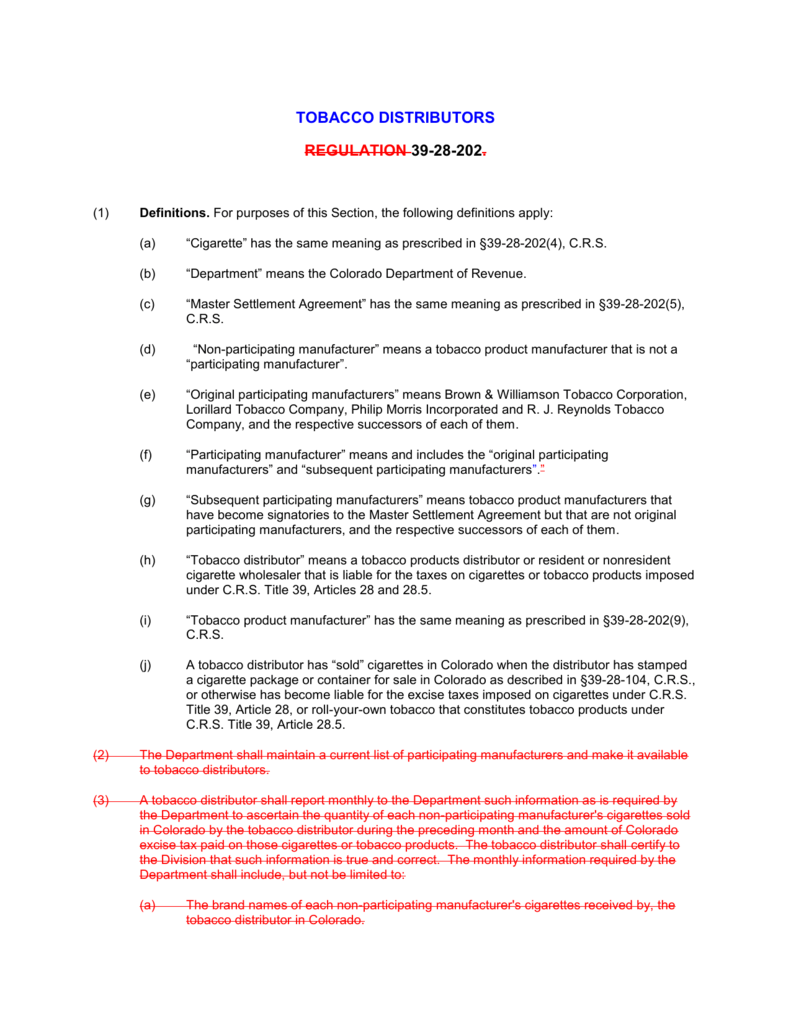 Master Settlement Agreement Tobacco Products Tax