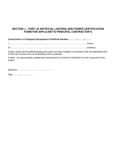 Part J6 Artificial lighting and power certificate