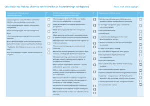 Checklist of key features of service delivery models co