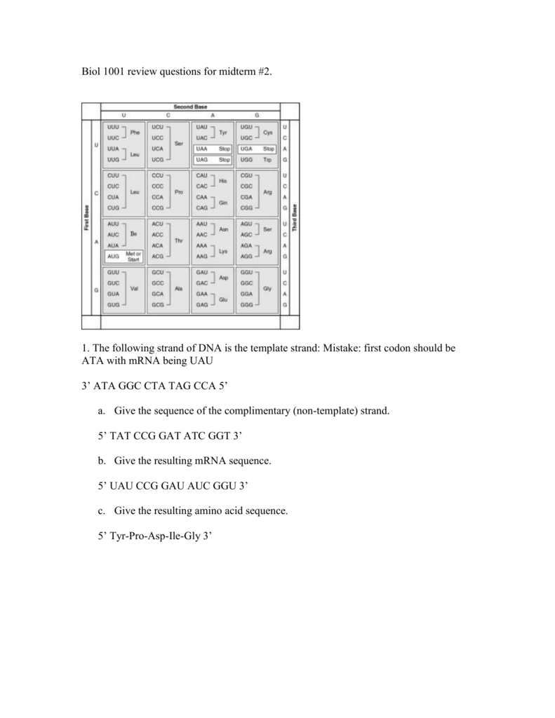 Biol 1001 review questions for midterm #2