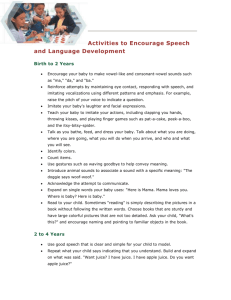 Activities to Encourage Speech and Language Development