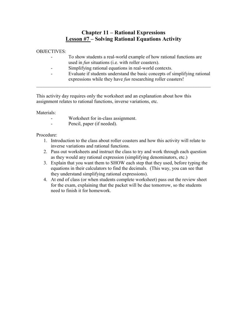 Worksheets Rational Functions Worksheet chapter 11 rational expressions