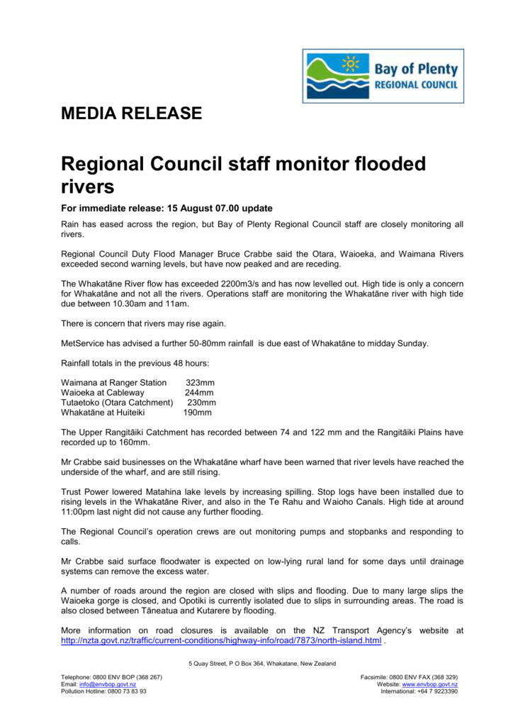 Regional Council staff monitor flooded rivers