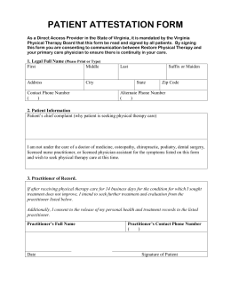 Patient Attestation Form