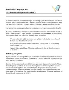 8th Grade Language Arts The Sentence Fragment Practice I A