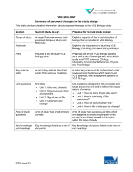 VCE BIOLOGY Summary of proposed changes to the study design