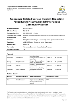 Consumer Related Serious Incident Reporting Procedure for