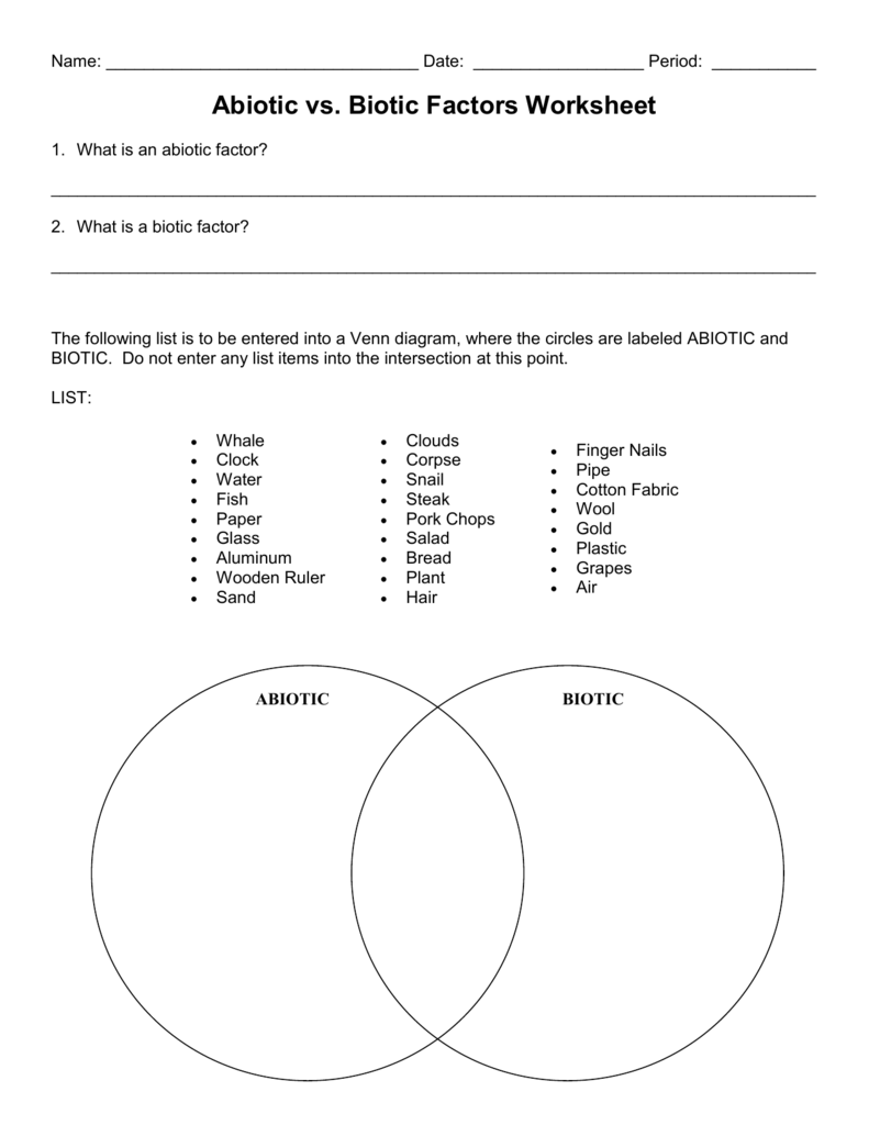 Worksheet 1: Abiotic versus Biotic factors