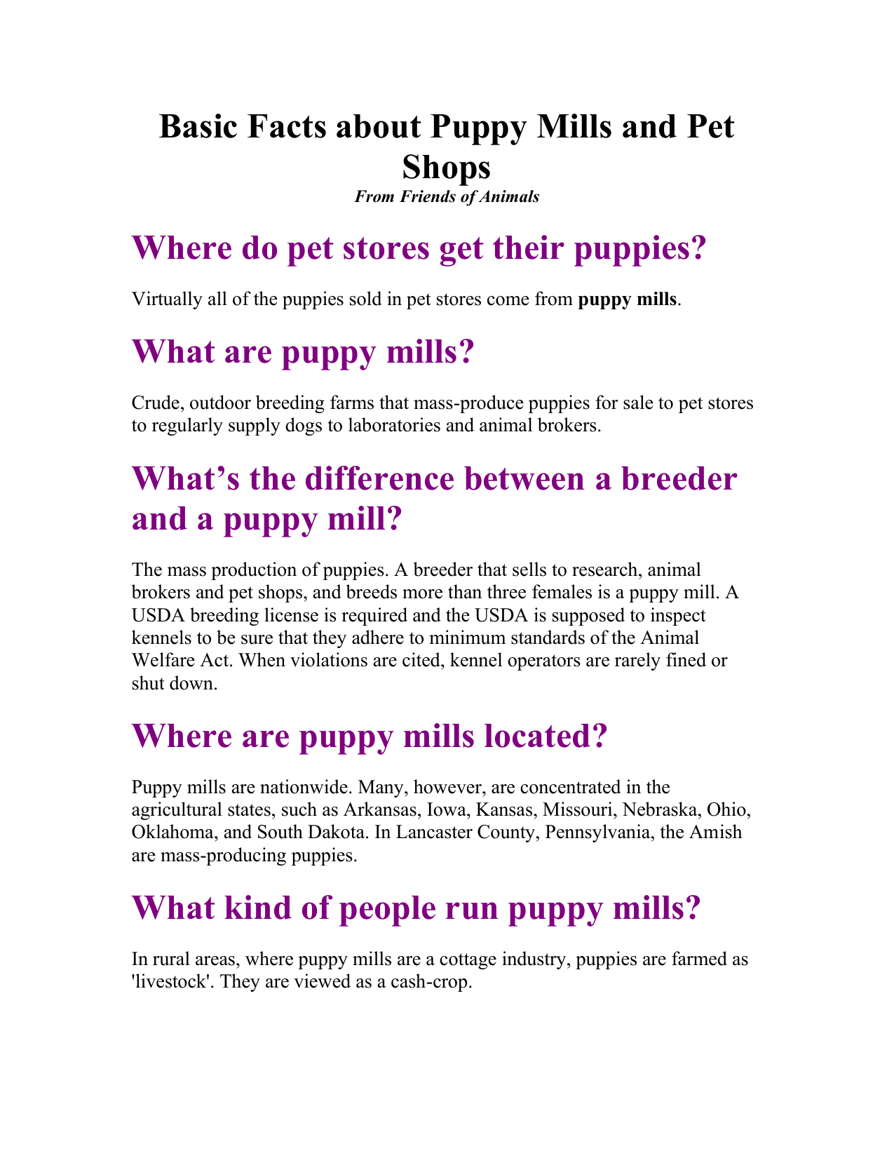 Basic Facts about Puppy Mills and Pet Shops From