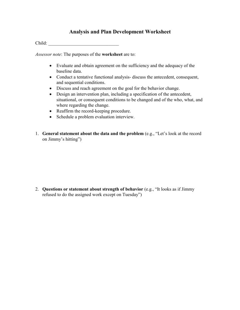 Analysis Worksheet