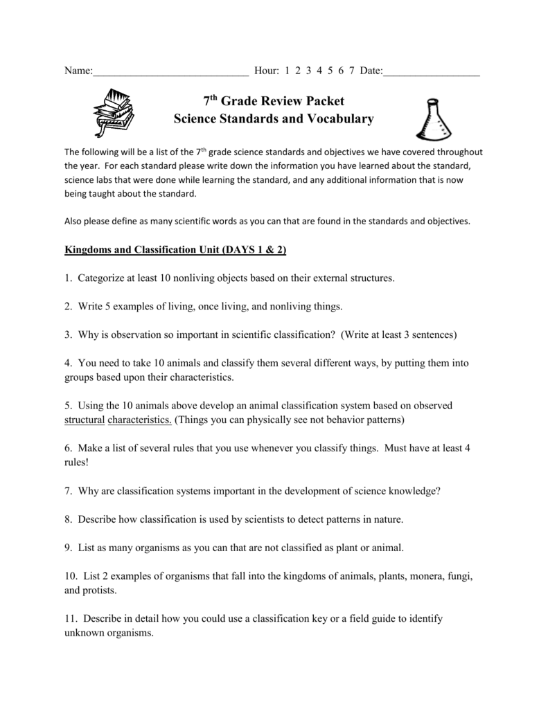 Name Hour 1 2 3 4 5 6 7 Date 7th Grade Review Packet Science