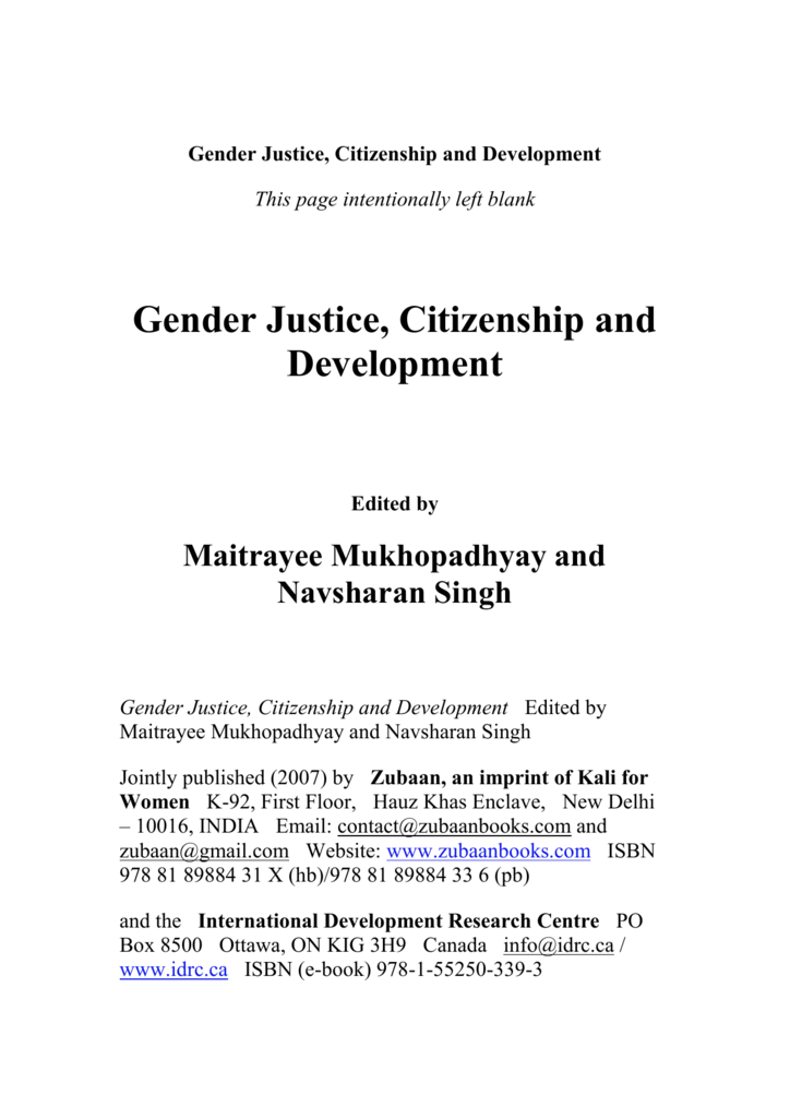 Gender Justice Citizenship And Development