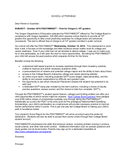 2015 PSAT/NMSQT® Sample Parent Letter