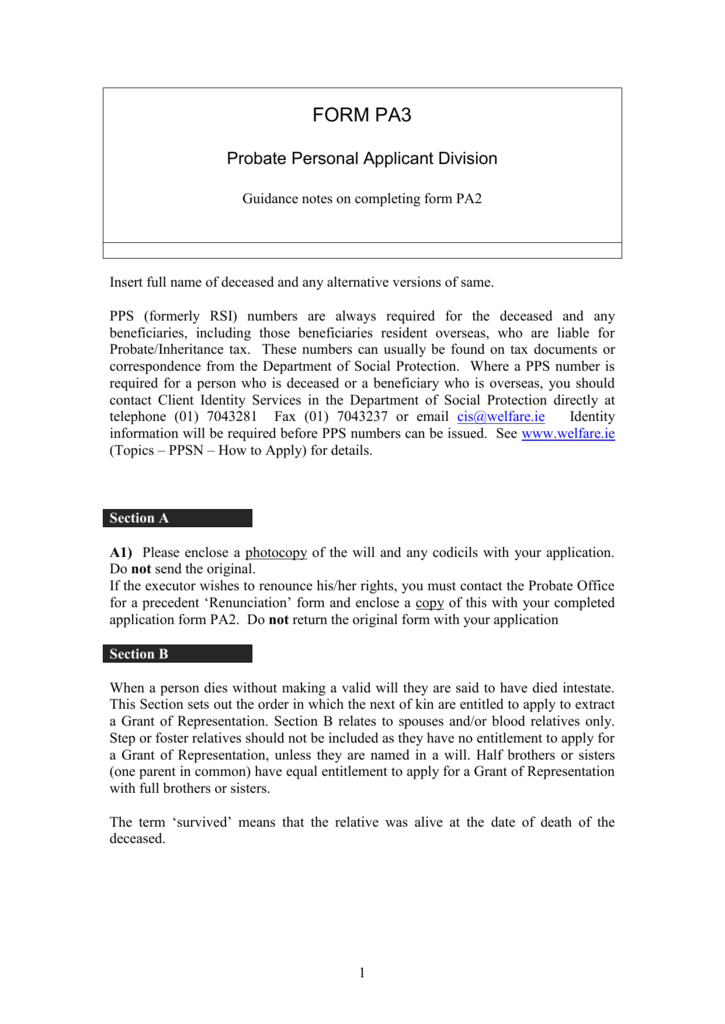 PA3: Guidance notes on completing form PA2