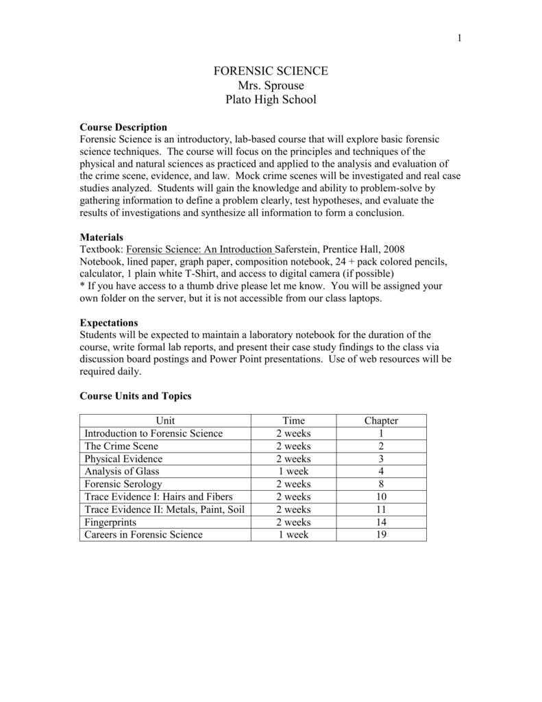 Forensic Science I Syllabus