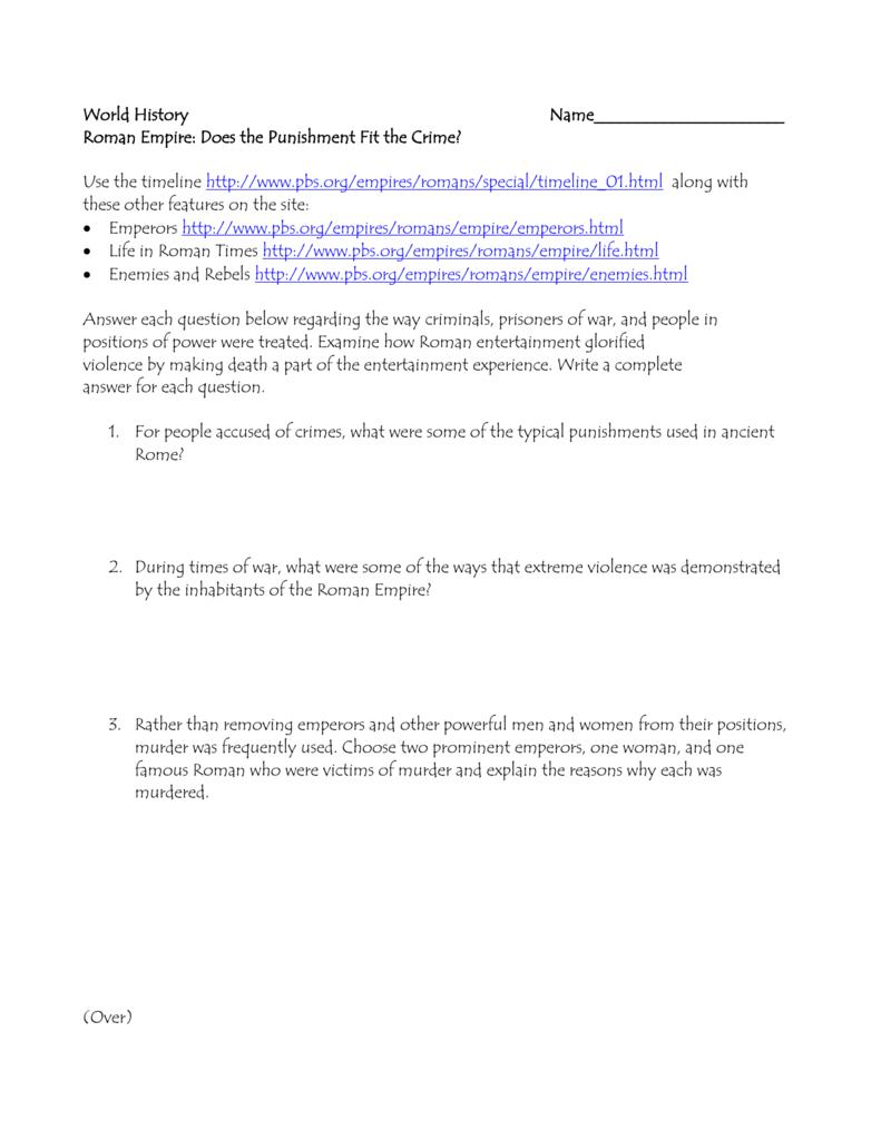 Roman Violence worksheet - Mrs. Bloom Social Studies