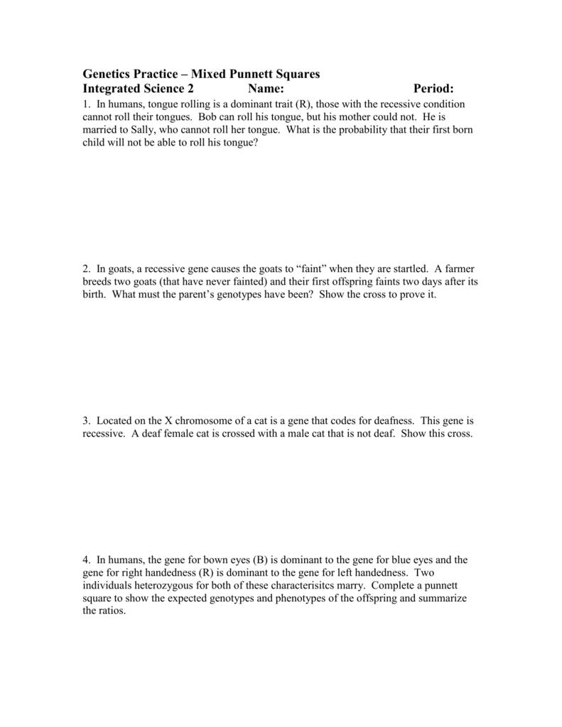 Genetics Practice Mixed Punnett Squares