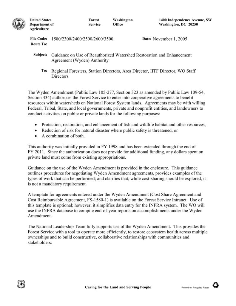 Wyden) Authority - USDA Forest Service