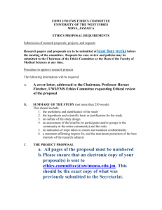 ETHICS PROPOSAL REQUIREMENTS - University of the West Indies