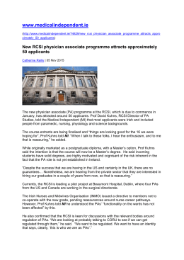 05.11.15 - medicalindependent.ie - New RCSI physician associate