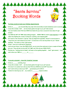 Santa Service Booking Words