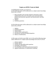Topics on MTEL Tests in Math