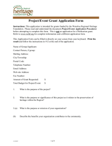 Application for Project Grant - Waterloo Regional Heritage Foundation