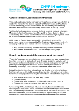 Outcome Based Accountability introduced