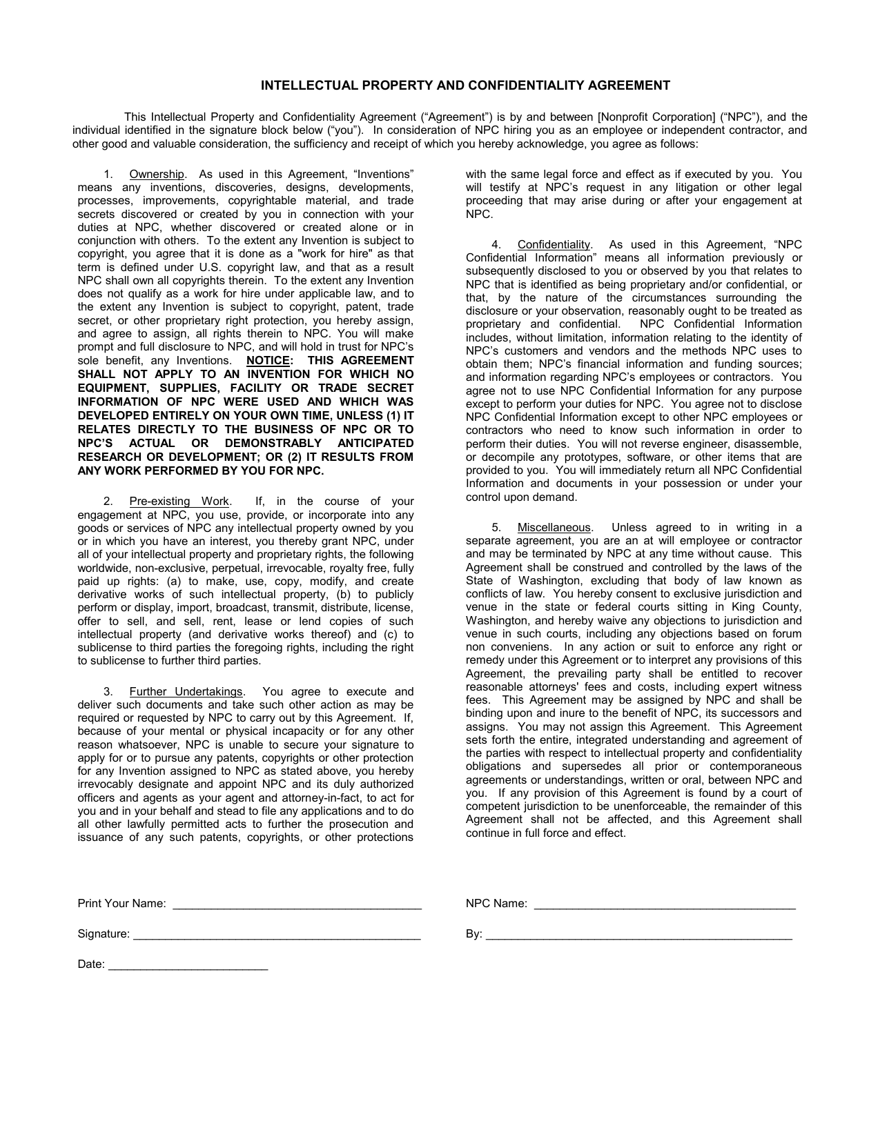 Sample Intellectual Property And Confidentiality Agreement
