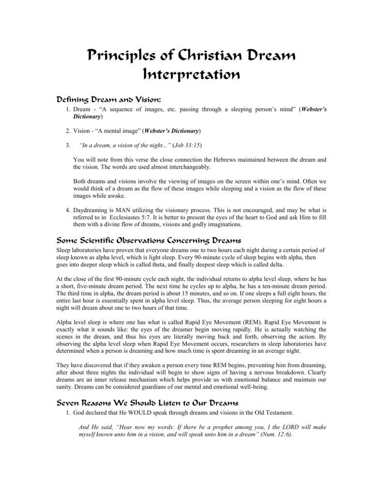 Principles Of Christian Dream Interpretation