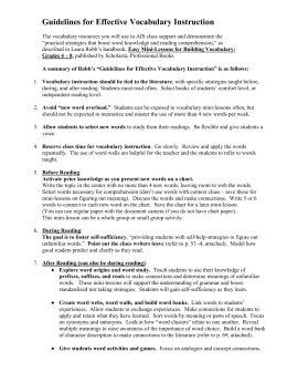 Guidelines for Effective Vocabulary Instruction