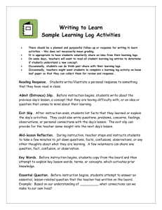 Some Learning Log Activity Ideas