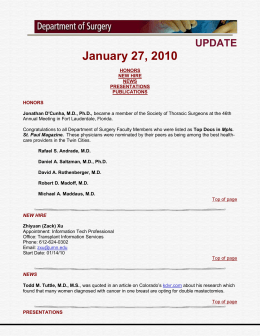DEPARTMENT OF SURGERY UPDATES…