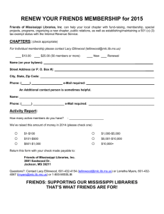2015 Friends Membership Renewal - Mississippi Library Commission