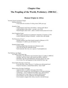 Chapter One The Peopling of the World, Prehistory–2500 B.C.