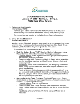First 2006 Safety Group Meeting - Ontario Safety Association for
