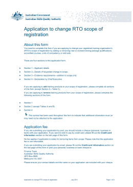 Application to change RTO scope of registration