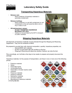 Transport & Shipping of Hazardous Materials