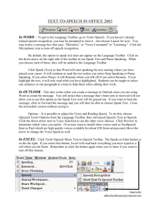 Text-to-speech in Office 2003