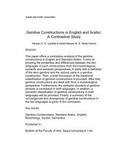 Assiut university researches Genitive Constructions in English and