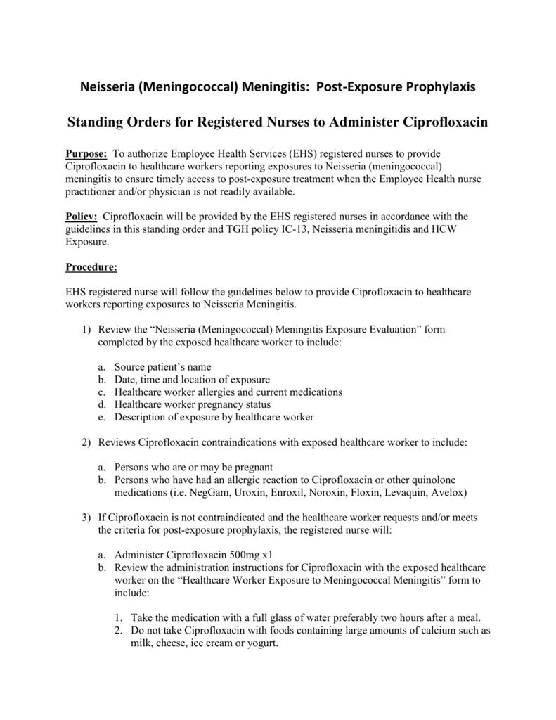 Standing Order Meningitis PEP 1-13