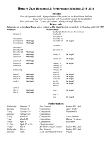Honors Jazz Schedule 2015-2016