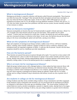 December 2014 | Page 1 of 3 What is meningococcal disease