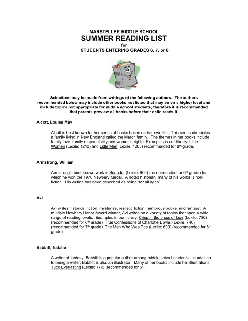 5d480ace7c8 marsteller middle school summer reading list