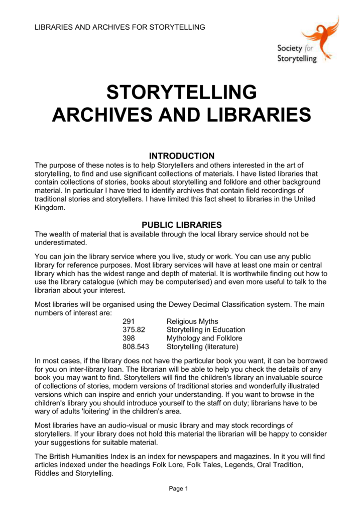 Storytelling Archives Libraries