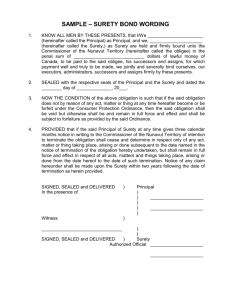 SAMPLE – SURETY BOND WORDING