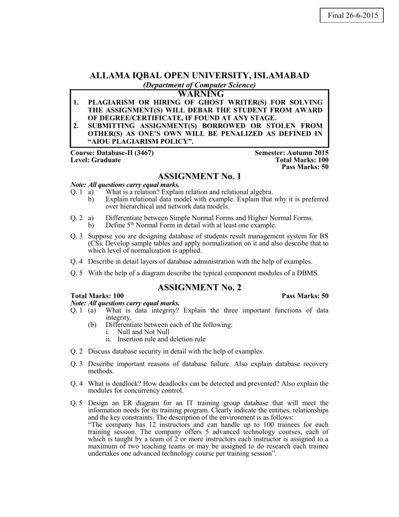 Allama Iqbal Open University Database Security And Integrity Dbms