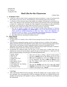 Mad Libs for the Classroom