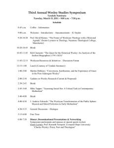 Tyndale Wesley Studies Symposium – March 3, 2009 – Seminary
