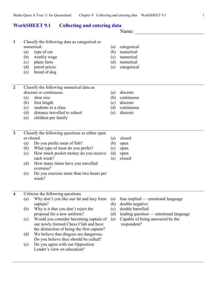 Worksheet 9 1